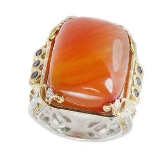 Michael Valitutti Palladium Silver Cushion Carnelian and Blue Sapphire Ring