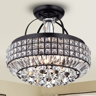 Pamarin Round Crystal Antique Black Semi-Flush Mount Ceiling Light