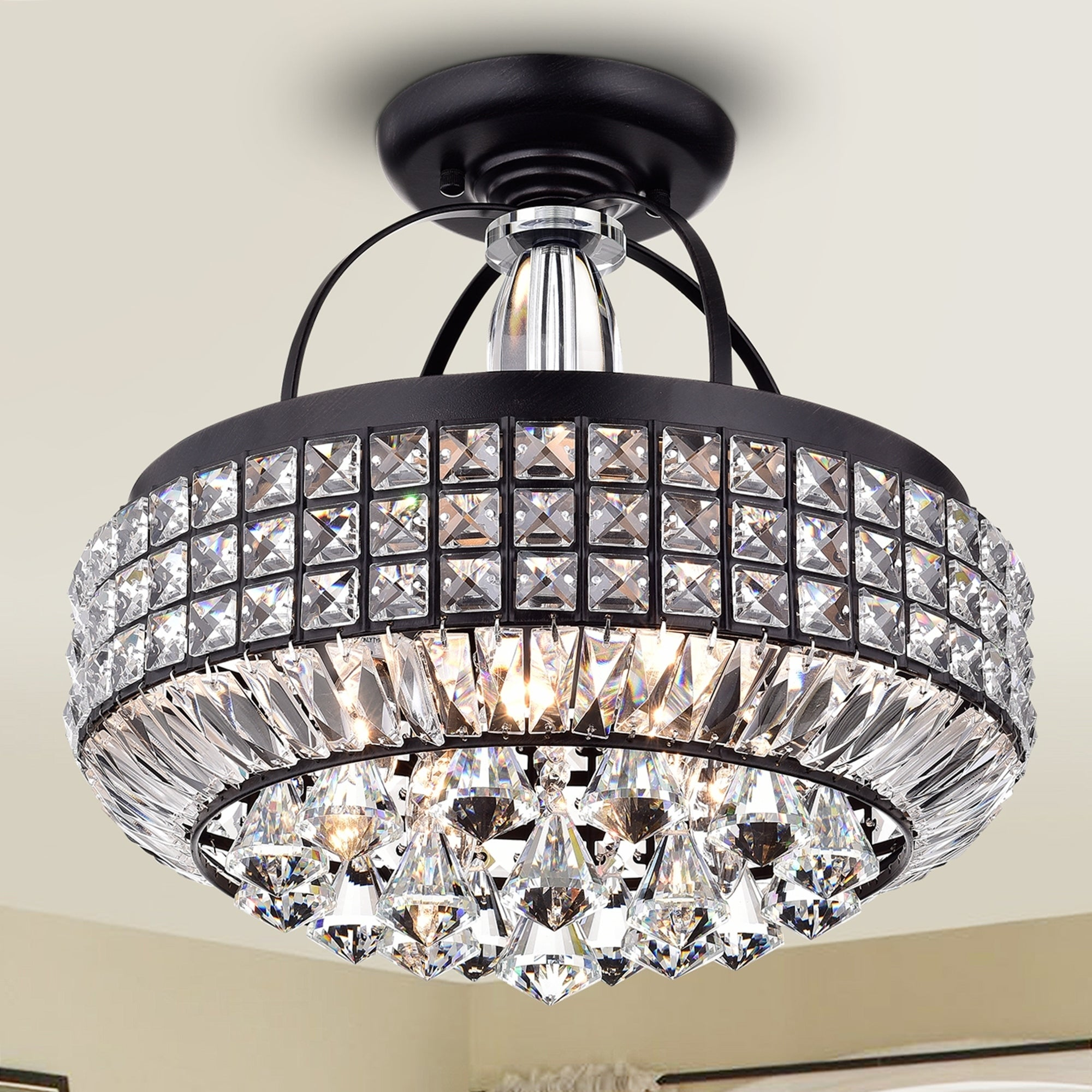 Pamarin Round Crystal Antique Black Semi Flush Mount Ceiling Light Overstock 13929400