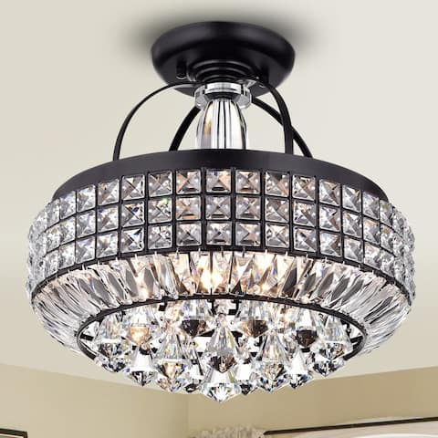 Pamarin Round Crystal Antique Black Semi-Flush Mount Ceiling Light