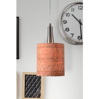 Bachman Brushed Steel and Cork Shade Mini Pendant - Silver