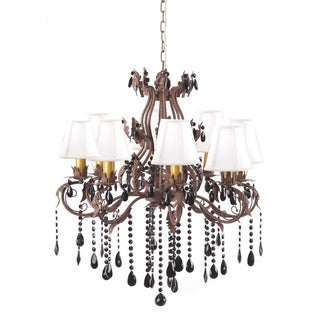 Brown Antique Wrought Iron Eight-lights Floral Leaf Chandelier