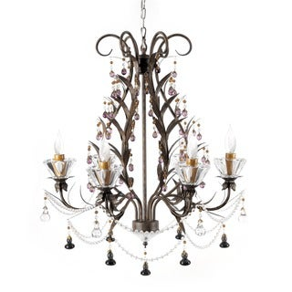 Hobbitholeco. Wrought Iron 6-light Leaf Chandelier