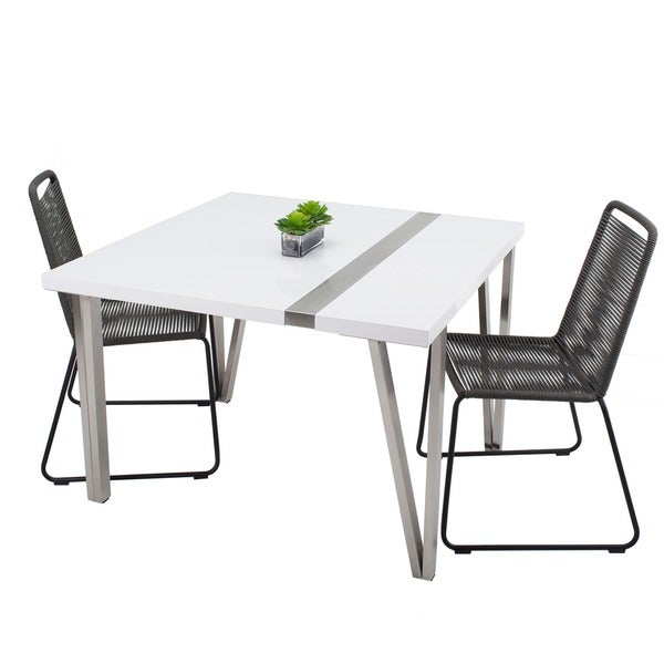 MIX White High Gloss Lacquer Square Top And Brushed Stainless Steel Legs  Table   N