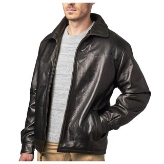 Men's Black Pebble Lamb Leather Jacket Zip-out Liner