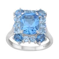 Pangea Mines Swiss & London Blue Topaz Halo Ring