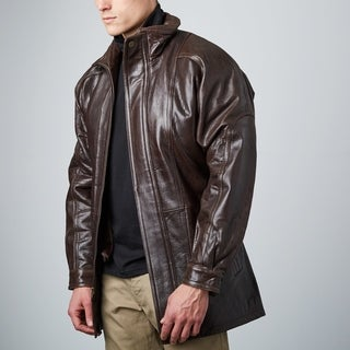 Men's Brown Lambskin Belted 3/4-length Car Coat