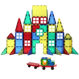 ShapeMags The Engineer 160-piece 3-D Magnetic Tiles 2 Car Base Building Set