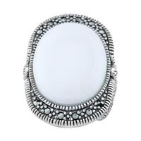 Pangea Mines White Agate & Marcasite Ring