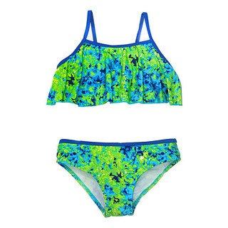 Jump'N Splash Girls Multicolored Tie-dye Flounce Bikini Set