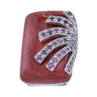 Pangea Mines Red Coral Overlay Ring