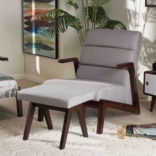 Baxton Studio Mid-Century Medium Brown Finish Wood and Grey Fabric Lounge Chair Set