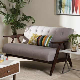 Baxton Studio Mid-Century Medium Brown Finish Wood and Grey Fabric Loveseat