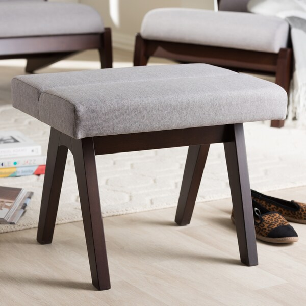 Ottomans Lucia Storage Chest Grey Fabric: Shop Baxton Studio Mid-Century Medium Brown Finish Wood