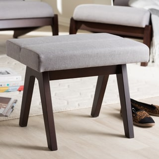 Baxton Studio Mid-Century Medium Brown Finish Wood and Grey Fabric Ottoman