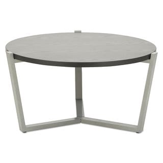 Alera Round Modern Contemporary Black and Silver Coffee Table