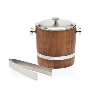 Godinger Wood Inlay Ice Bucket With Tong
