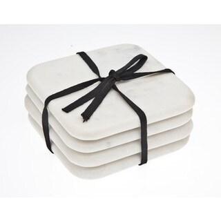Godinger White Marble 4-inch 4-piece Coaster Set