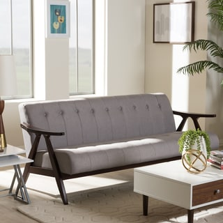Baxton Studio Mid-Century Medium Brown Finish Wood and Grey Fabric Sofa