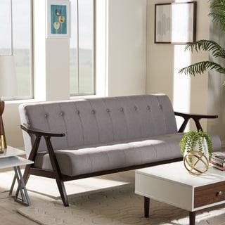 Baxton Studio Mid-Century Medium Brown Finish Wood and Grey Fabric Sofa