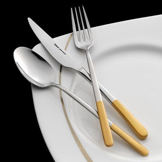 Bahama Half Gold-plated Matte Satin Finish 30-piece Flatware Set with Service for 6 by Hisar