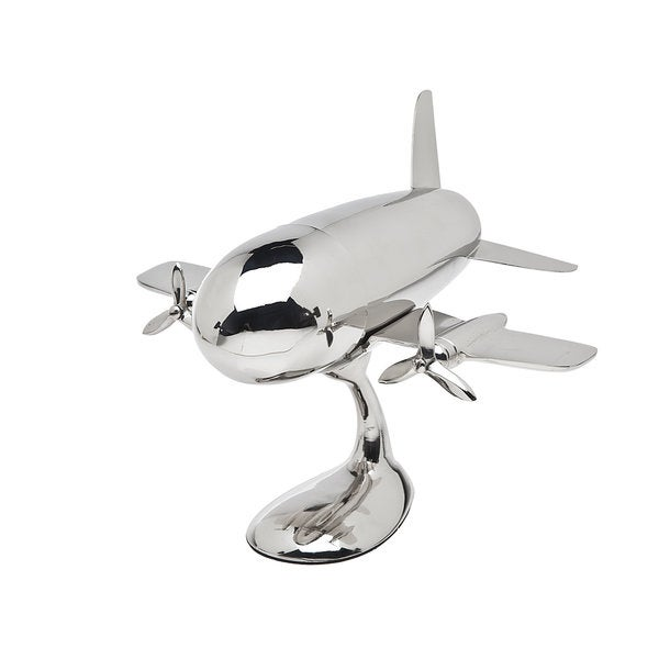 Godinger Silvercolored Metal Airplane Shaker on Stand