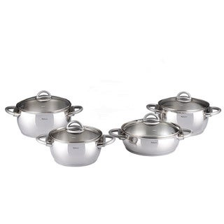 Bahama 9-piece Grey Stainless Steel Cookware Set by Hisar