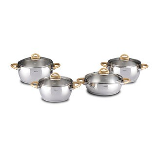 Bahama 8-piece Gold Stainless Steel Cookware Set by Hisar