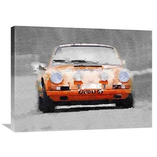 NAXART Studio 'Porsche 911 Race Track Watercolor' Stretched Canvas Wall Art