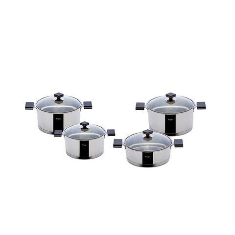 Milan 8-piece Black Stainless Steel Cookware Set by Hisar
