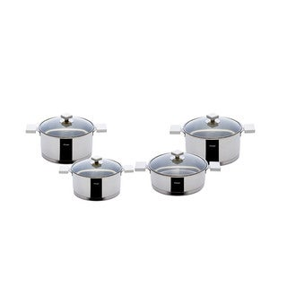 Milan Ivory Stainless Steel 9-piece Cookware Set by Hisar (Option: Ivory)