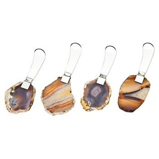 Godinger Stainless Steel Spreaders With Brown-toned Natural Agate Handles (4-piece Set)