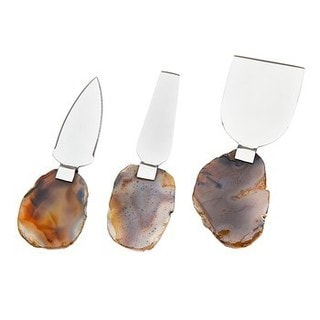 Godinger Metal 3-piece Cheese set with Brown Agate Handles