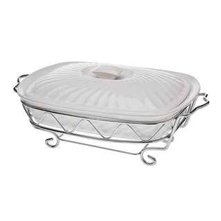 Godinger White Ceramic 2-quart Rectangular Baker With Chrome Stand