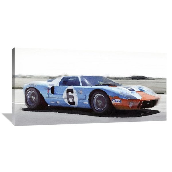 Naxart Studio Ford Gt  Gulf Watercolor Stretched Canvas