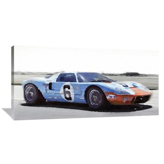 Naxart Studio Ford Gt  Gulf Watercolor Stretched Canvas Wall Art