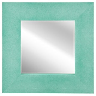 Empire Art Teal Metallic Shagreen Leather Framed Beveled Mirror