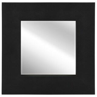 Empire Art Black on Black Metallic Shagreen Leather Framed Beveled Mirror