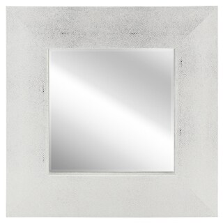 Empire Art Silver on White Metallic Shagreen Leather-framed Beveled Mirror