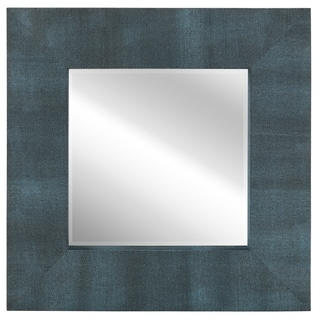 Empire Art Black-on-blue Metallic Shagreen Leather Framed Beveled Mirror