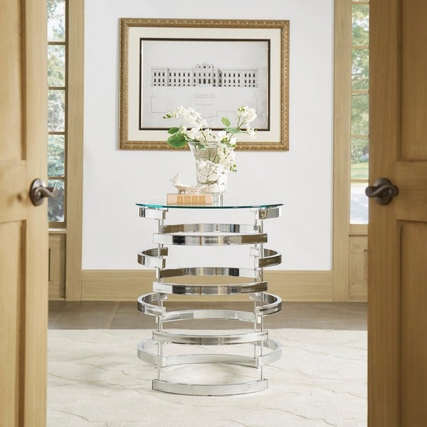 Nova Modern Glam Round Glass Top Metal Foyer Table By INSPIRE Q Bold