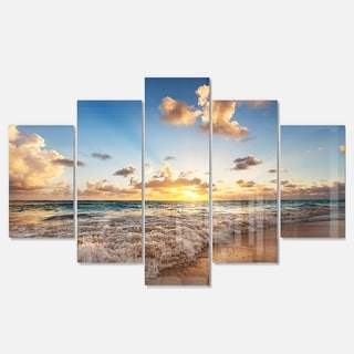 Designart 'Sunrise on Beach of Caribbean Sea' Large Seashore Glossy Metal Wall Art