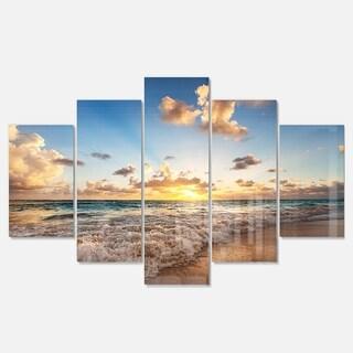 Designart 'Sunrise on Beach of Caribbean Sea' Large Seashore Glossy Metal Wall Art