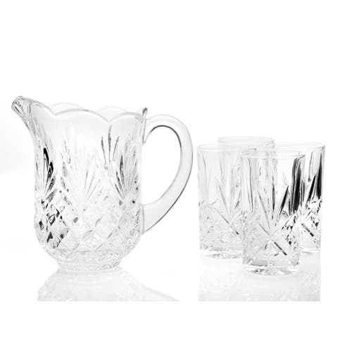 Godinger Dublin Drinkware Clear Crystal Pitcher with 4 Highballs