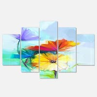 Designart 'Amazing Watercolor of Spring Daisies' Modern Floral Glossy Metal Wall Art