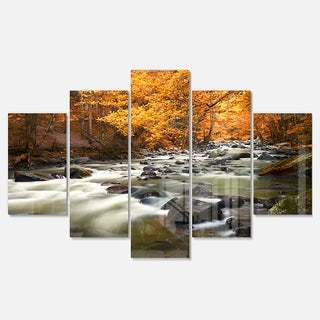 Designart 'Autumn Terrai With Trees and River' Landscape Artwork Glossy Metal Wall Art