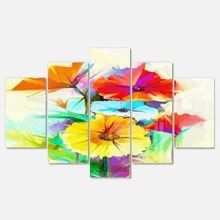 Designart 'Colorful Gerbera Flower Sketch on White' Modern Floral Glossy Metal Wall Art