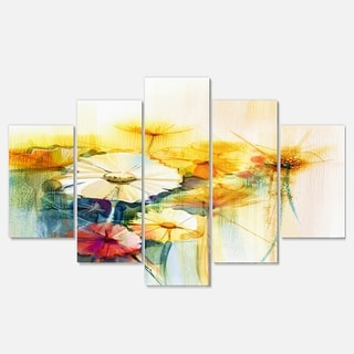 Designart 'Bunch of White Yellow Flowers' Modern Floral Glossy Metal Wall Art
