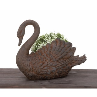Urban Designs Swan Cast Stone Planter Garden Decor