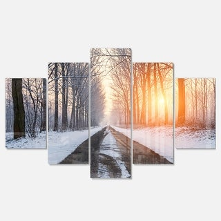 Designart 'Bright Sun Break in Winter Forest' Large Forest Glossy Metal Wall Art
